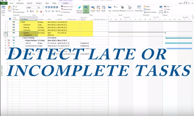 MS Project 2013 #9: How to find late, incomplete or in progress
